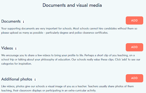Teacher Horizons candidate profile page