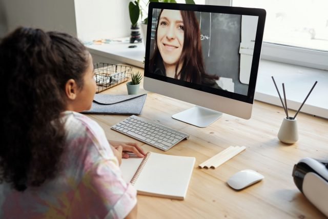 teacher and student online remote learning