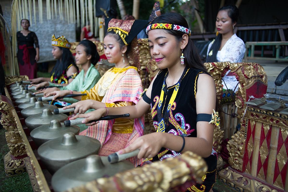 Women playing instruments in Bali