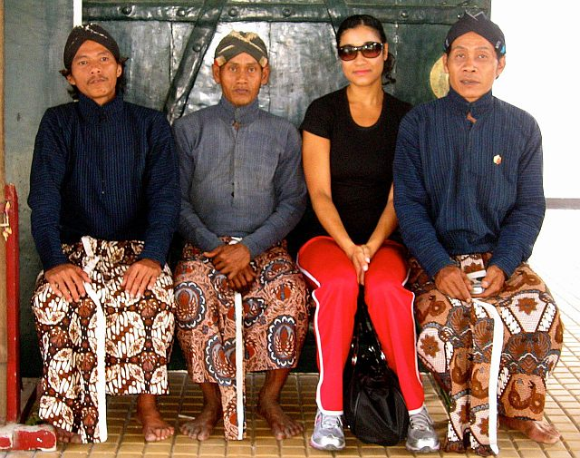 Sitting with locals at the kraton (palace) in Jogja