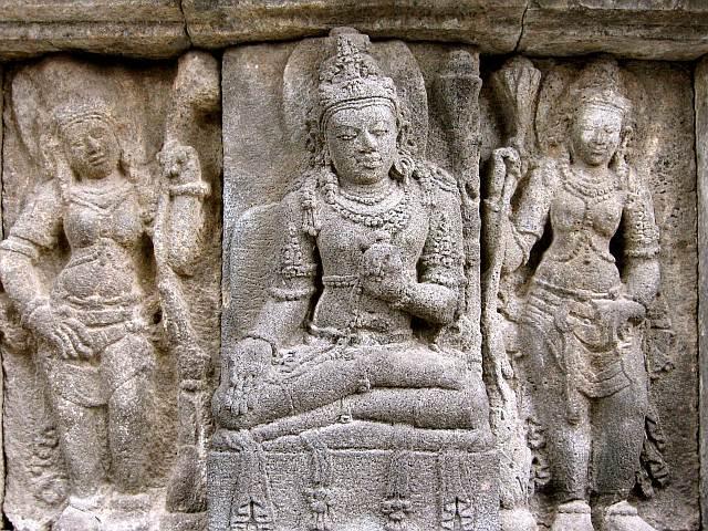 Close up of the stone carving at Prambanan Temple