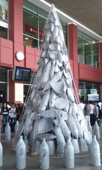 Basket Christmas tree at Phnom Penh airport